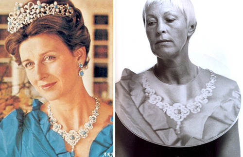 "Princess Alexandra's ""knock off"" of Queen Victoria's necklace and Gijs Bakker wearable"