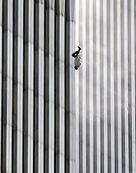 Fig3. Falling man. Photo by AP photographer Richard Drew of a man falling from the North Tower of the World Trade Center at 9:41:15am September 11, 2001.